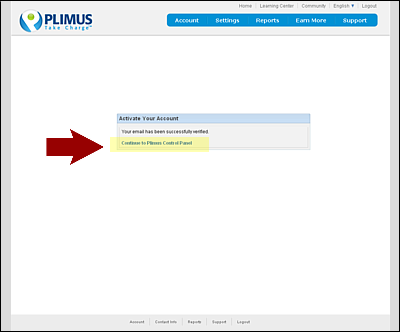 Screenshot Of Plimus Account Activation Page