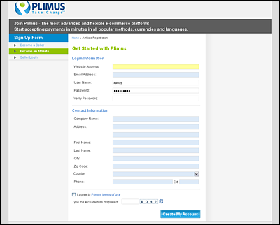 Screenshot Of Plimus Account Registration Page